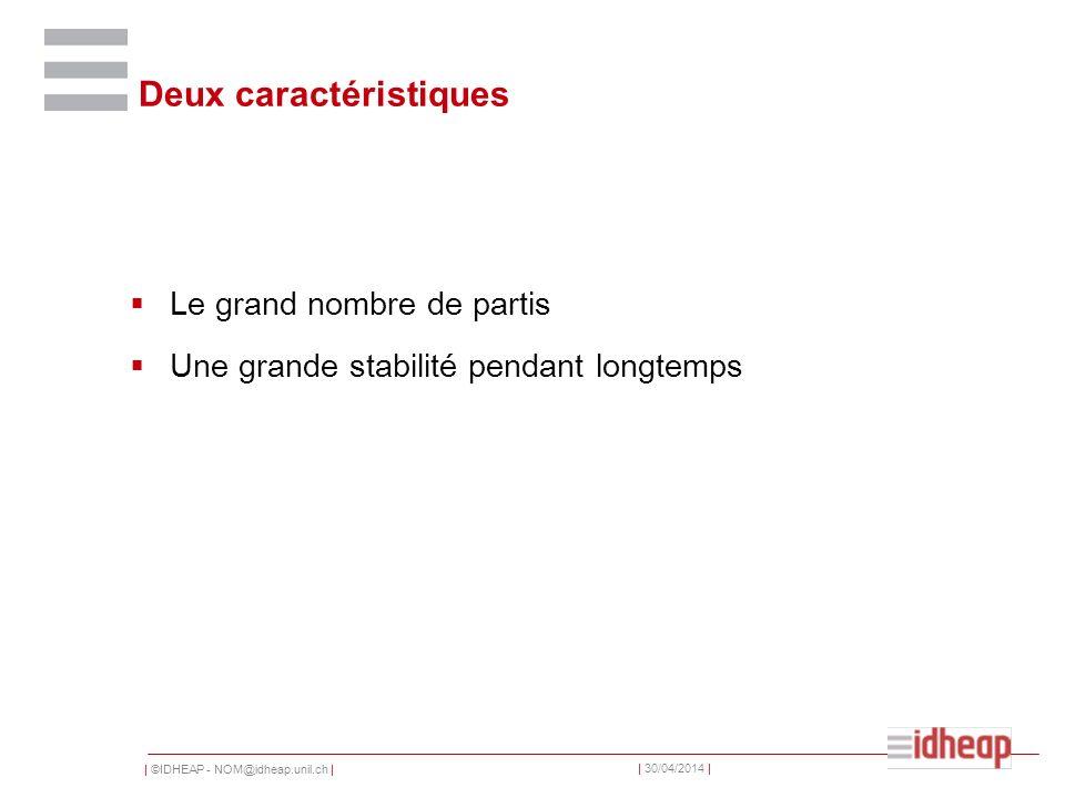 | ©IDHEAP - NOM@idheap.unil.ch | | 30/04/2014 | Deux caractéristiques Le grand nombre de partis Une grande stabilité pendant longtemps