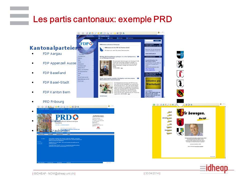   ©IDHEAP - NOM@idheap.unil.ch     30/04/2014   Les partis cantonaux: exemple PRD