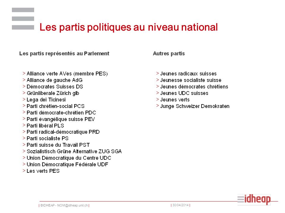 | ©IDHEAP - NOM@idheap.unil.ch | | 30/04/2014 | Les partis politiques au niveau national