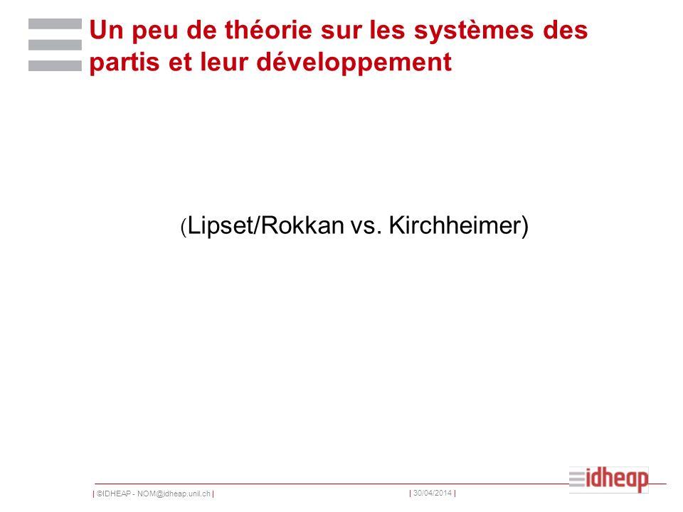 | ©IDHEAP - NOM@idheap.unil.ch | | 30/04/2014 | Un peu de théorie sur les systèmes des partis et leur développement ( Lipset/Rokkan vs.
