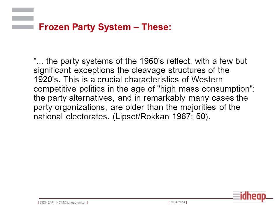 | ©IDHEAP - NOM@idheap.unil.ch | | 30/04/2014 | Arguments en faveur des Frozen-Party-Systems Plus ou moins les mêmes partis dans les gouvernements La volatilité dans les années 1960 nest pas plus élevée que dans les années précédentes Ou de manière plus générale: plus de stabilité que de changement