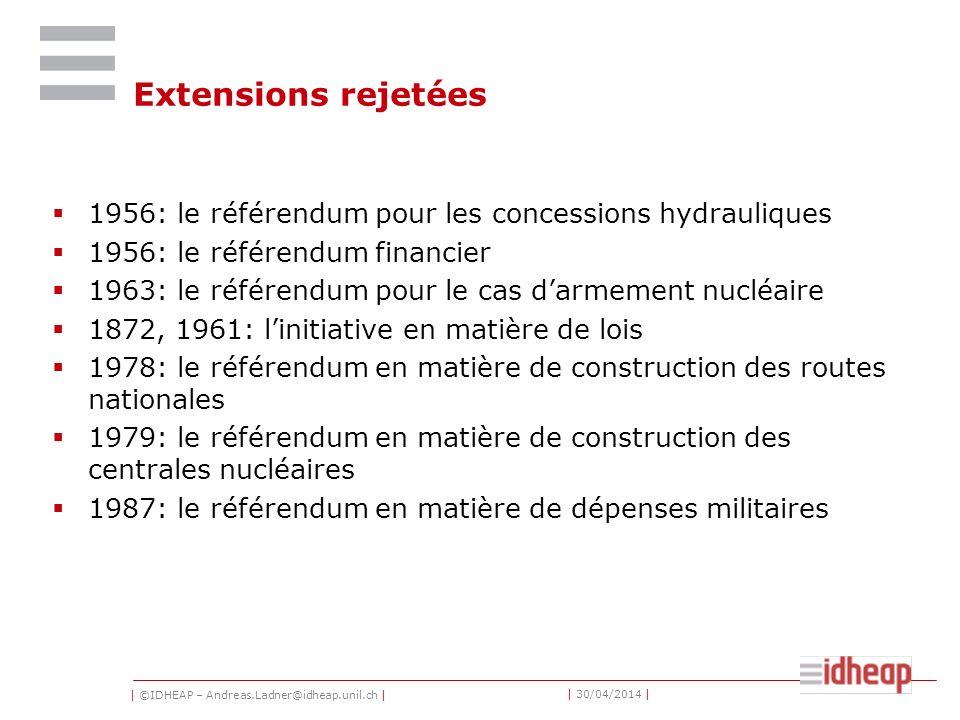 | ©IDHEAP – Andreas.Ladner@idheap.unil.ch | | 30/04/2014 | Extensions rejetées 1956: le référendum pour les concessions hydrauliques 1956: le référendum financier 1963: le référendum pour le cas darmement nucléaire 1872, 1961: linitiative en matière de lois 1978: le référendum en matière de construction des routes nationales 1979: le référendum en matière de construction des centrales nucléaires 1987: le référendum en matière de dépenses militaires