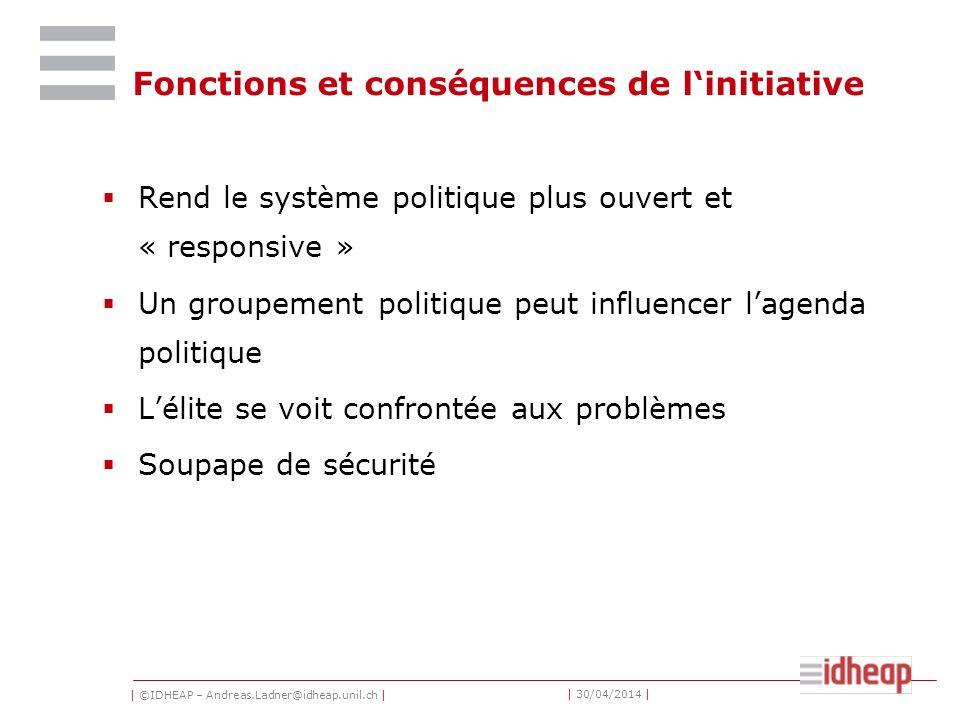 | ©IDHEAP – Andreas.Ladner@idheap.unil.ch | | 30/04/2014 | Fonctions et conséquences de linitiative Rend le système politique plus ouvert et « respons