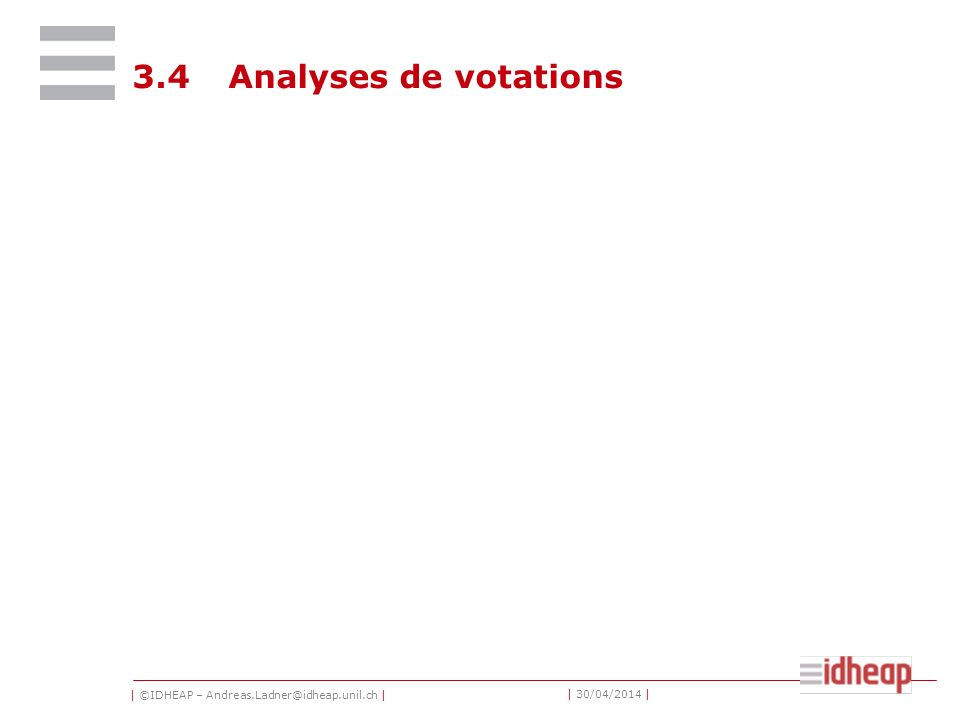 | ©IDHEAP – Andreas.Ladner@idheap.unil.ch | | 30/04/2014 | 3.4Analyses de votations