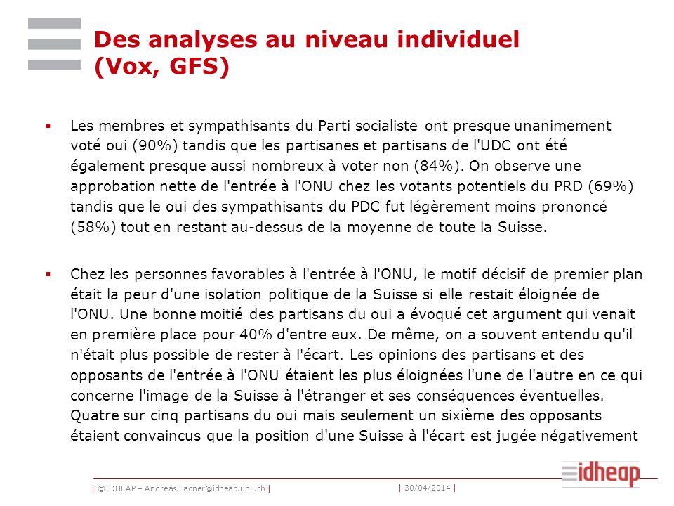 | ©IDHEAP – Andreas.Ladner@idheap.unil.ch | | 30/04/2014 | Des analyses au niveau individuel (Vox, GFS) Les membres et sympathisants du Parti socialis