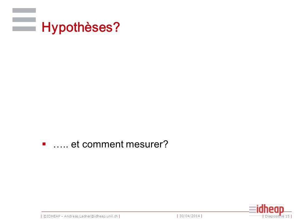 | ©IDHEAP – Andreas.Ladner@idheap.unil.ch | | 30/04/2014 | Hypothèses? ….. et comment mesurer? | Diapositive 15 |