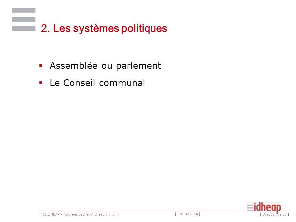 | ©IDHEAP – Andreas.Ladner@idheap.unil.ch | | 30/04/2014 | 2. Les systèmes politiques Assemblée ou parlement Le Conseil communal | Diapositive 28 |