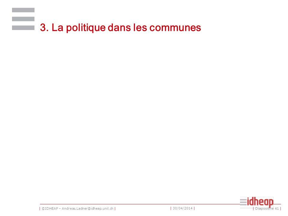 | ©IDHEAP – Andreas.Ladner@idheap.unil.ch | | 30/04/2014 | 3. La politique dans les communes | Diapositive 41 |