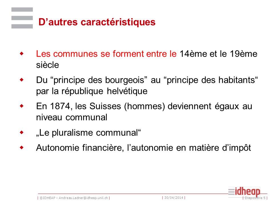 | ©IDHEAP – Andreas.Ladner@idheap.unil.ch | | 30/04/2014 | Dans quels domaines le canton devrait accorder plus dautonomie aux communes (1998) .