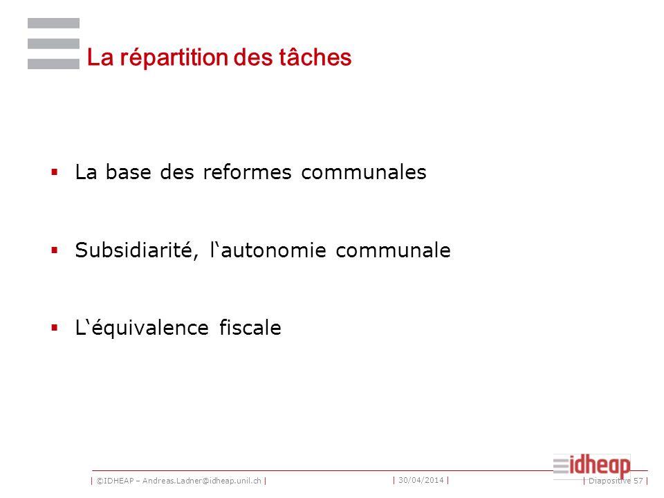 | ©IDHEAP – Andreas.Ladner@idheap.unil.ch | | 30/04/2014 | La répartition des tâches La base des reformes communales Subsidiarité, lautonomie communale Léquivalence fiscale | Diapositive 57 |