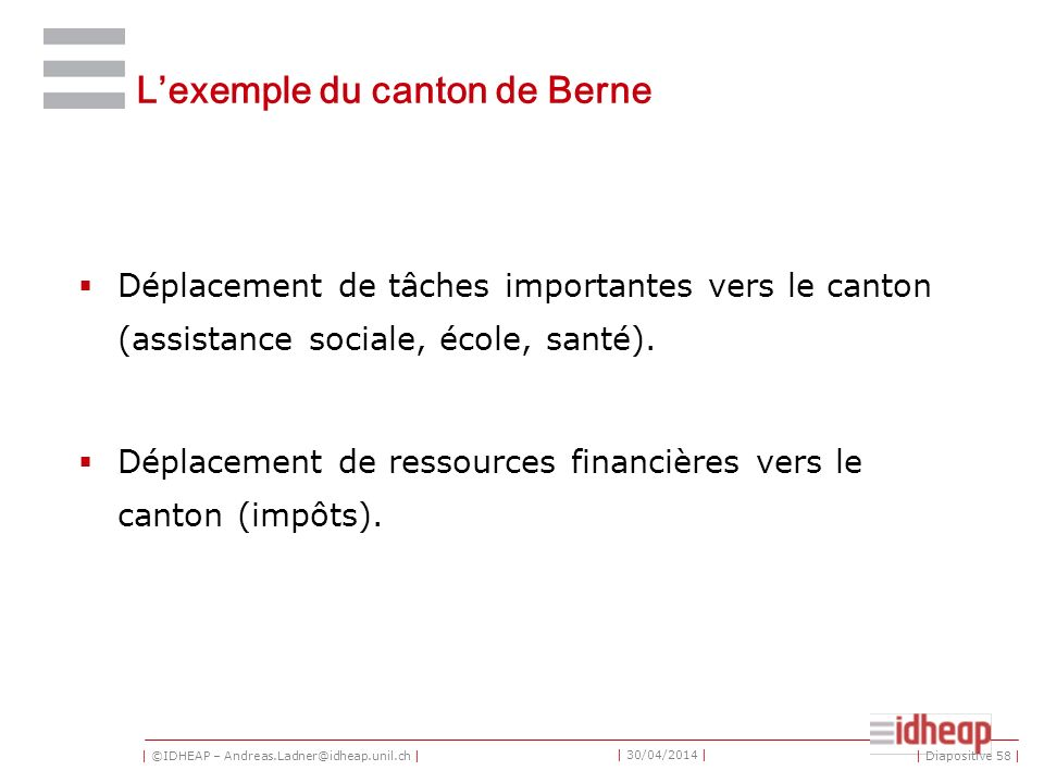 | ©IDHEAP – Andreas.Ladner@idheap.unil.ch | | 30/04/2014 | Lexemple du canton de Berne Déplacement de tâches importantes vers le canton (assistance so