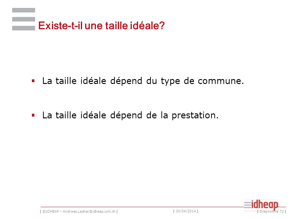 | ©IDHEAP – Andreas.Ladner@idheap.unil.ch | | 30/04/2014 | Existe-t-il une taille idéale.