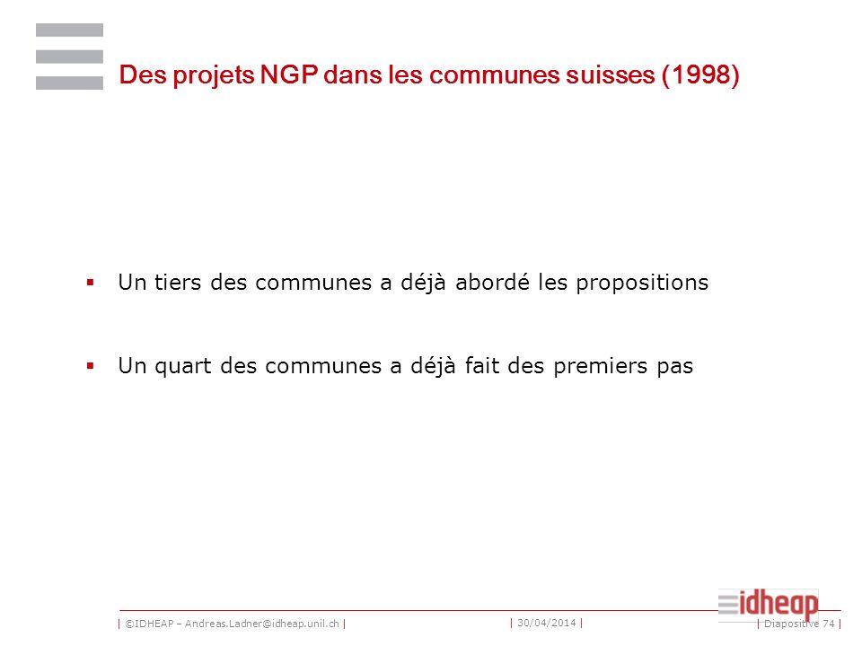 | ©IDHEAP – Andreas.Ladner@idheap.unil.ch | | 30/04/2014 | Des projets NGP dans les communes suisses (1998) Un tiers des communes a déjà abordé les propositions Un quart des communes a déjà fait des premiers pas | Diapositive 74 |