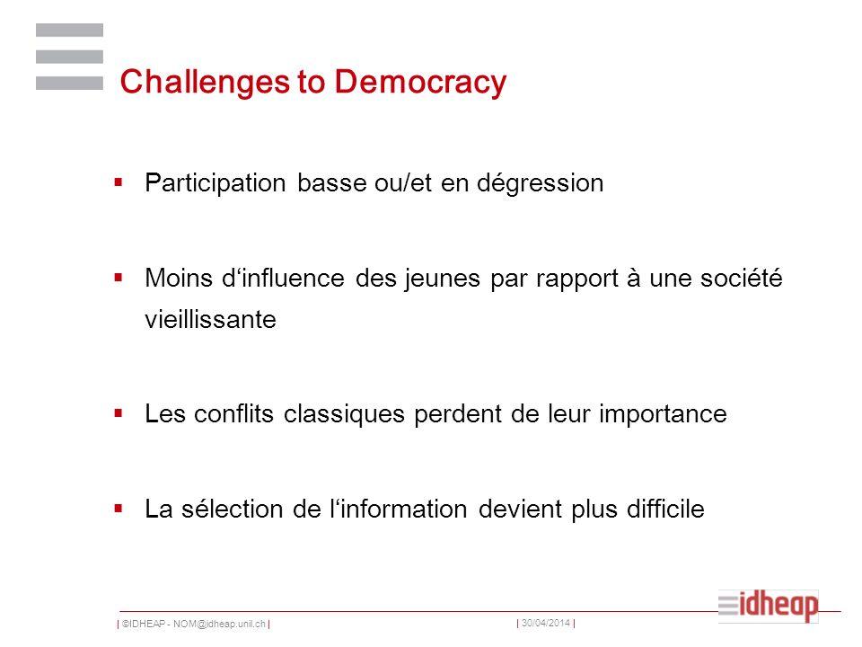 | ©IDHEAP - NOM@idheap.unil.ch | | 30/04/2014 | Challenges to Democracy Participation basse ou/et en dégression Moins dinfluence des jeunes par rappor