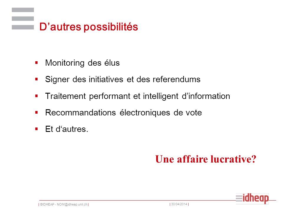 | ©IDHEAP - NOM@idheap.unil.ch | | 30/04/2014 | Dautres possibilités Monitoring des élus Signer des initiatives et des referendums Traitement performa