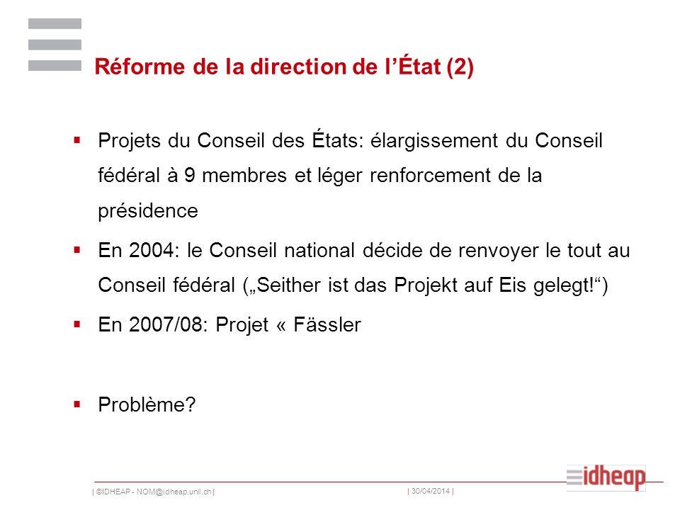 | ©IDHEAP - NOM@idheap.unil.ch | | 30/04/2014 | Réforme de la direction de lÉtat (2) Projets du Conseil des États: élargissement du Conseil fédéral à 9 membres et léger renforcement de la présidence En 2004: le Conseil national décide de renvoyer le tout au Conseil fédéral (Seither ist das Projekt auf Eis gelegt!) En 2007/08: Projet « Fässler Problème