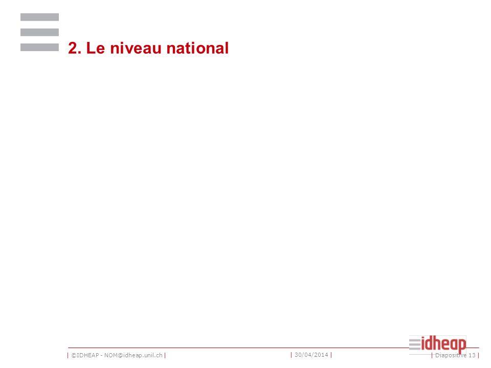 | ©IDHEAP - NOM@idheap.unil.ch | | 30/04/2014 | 2. Le niveau national | Diapositive 13 |