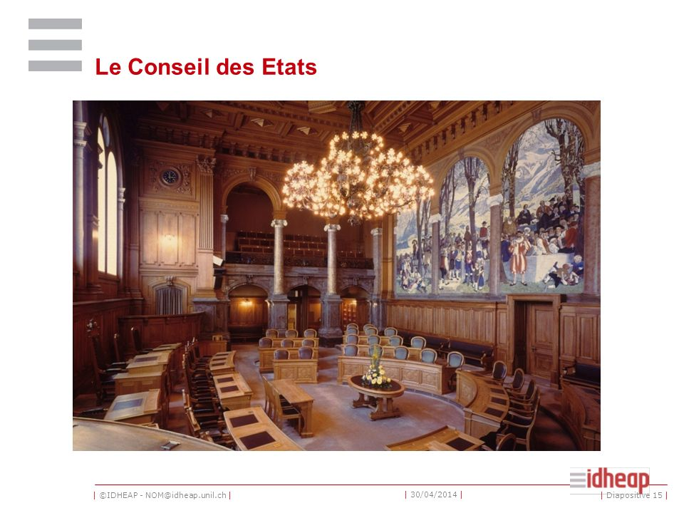 | ©IDHEAP - NOM@idheap.unil.ch | | 30/04/2014 | Le Conseil des Etats | Diapositive 15 |