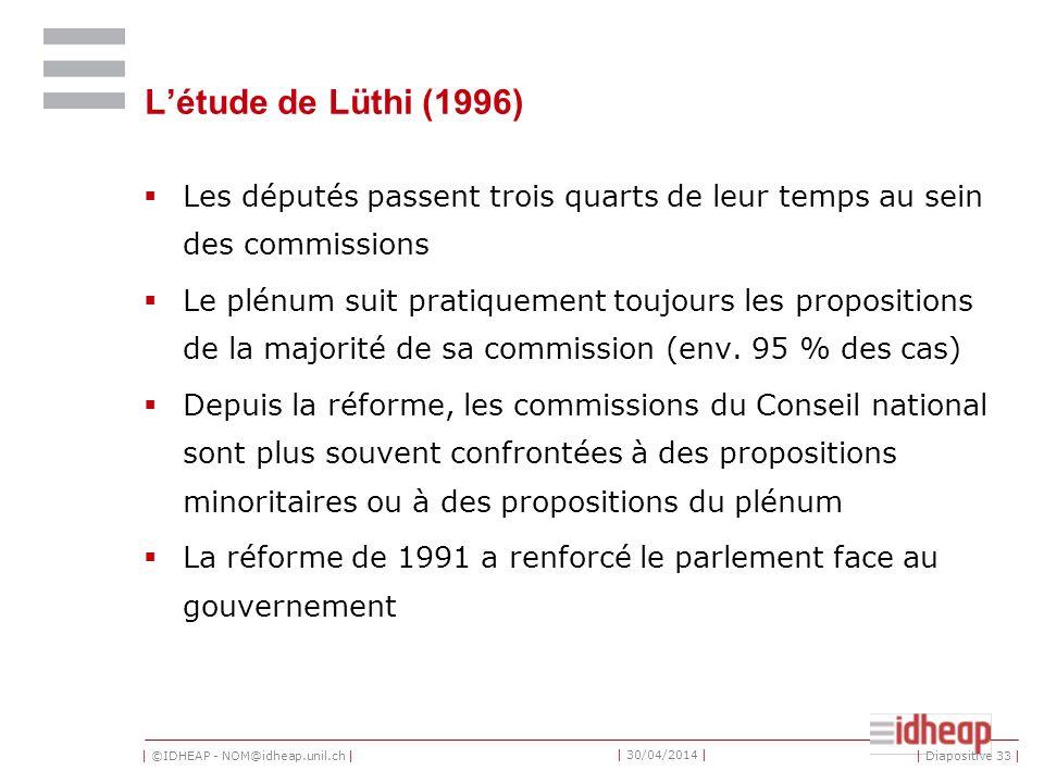 | ©IDHEAP - NOM@idheap.unil.ch | | 30/04/2014 | Létude de Lüthi (1996) Les députés passent trois quarts de leur temps au sein des commissions Le plénum suit pratiquement toujours les propositions de la majorité de sa commission (env.