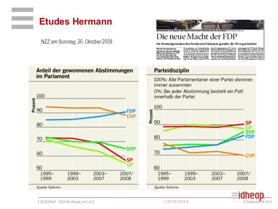 | ©IDHEAP - NOM@idheap.unil.ch | | 30/04/2014 | Etudes Hermann NZZ am Sonntag, 26.