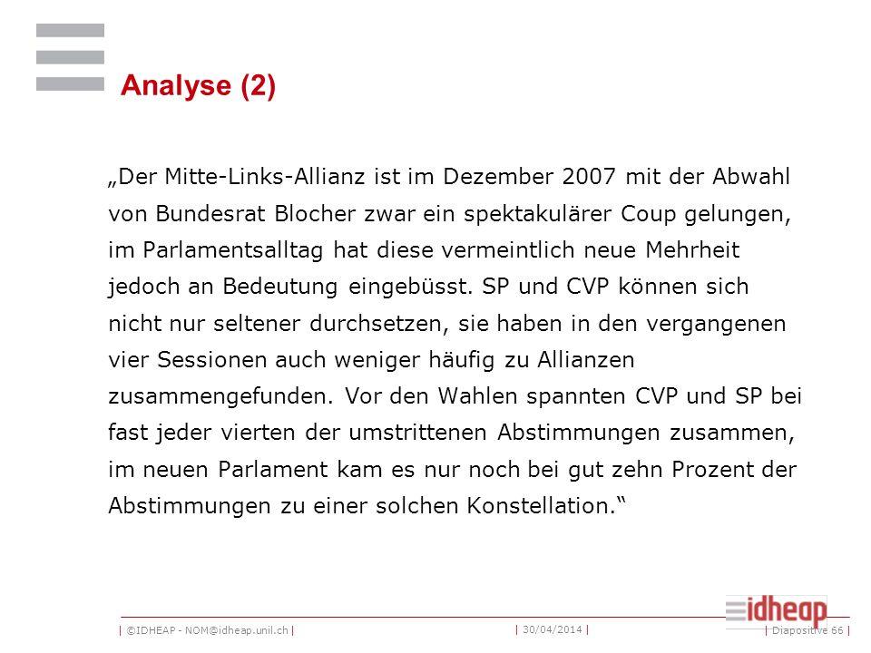 | ©IDHEAP - NOM@idheap.unil.ch | | 30/04/2014 | Analyse (2) Der Mitte-Links-Allianz ist im Dezember 2007 mit der Abwahl von Bundesrat Blocher zwar ein spektakulärer Coup gelungen, im Parlamentsalltag hat diese vermeintlich neue Mehrheit jedoch an Bedeutung eingebüsst.