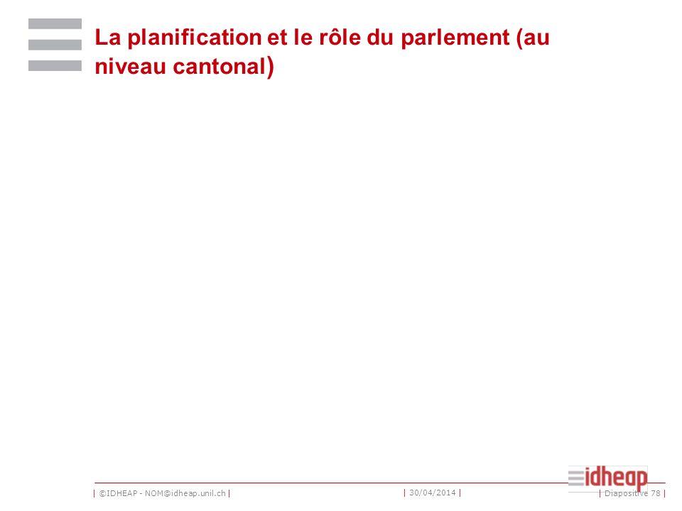 | ©IDHEAP - NOM@idheap.unil.ch | | 30/04/2014 | La planification et le rôle du parlement (au niveau cantonal ) | Diapositive 78 |