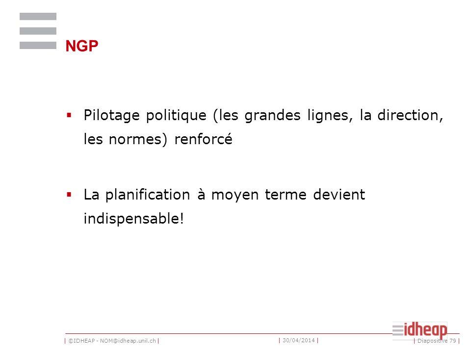 | ©IDHEAP - NOM@idheap.unil.ch | | 30/04/2014 | NGP Pilotage politique (les grandes lignes, la direction, les normes) renforcé La planification à moyen terme devient indispensable.