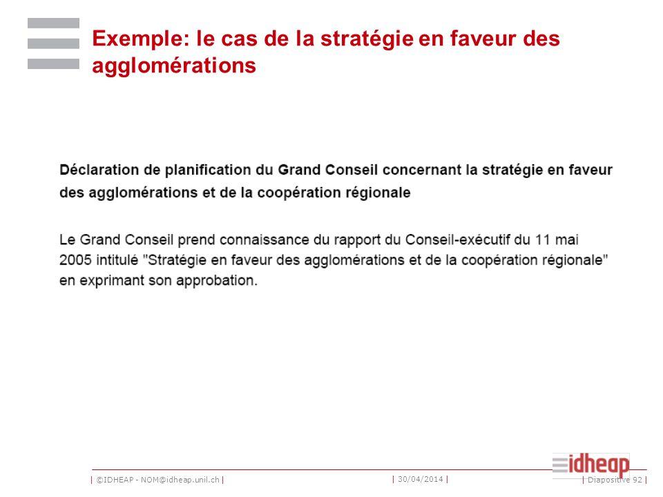 | ©IDHEAP - NOM@idheap.unil.ch | | 30/04/2014 | Exemple: le cas de la stratégie en faveur des agglomérations | Diapositive 92 |
