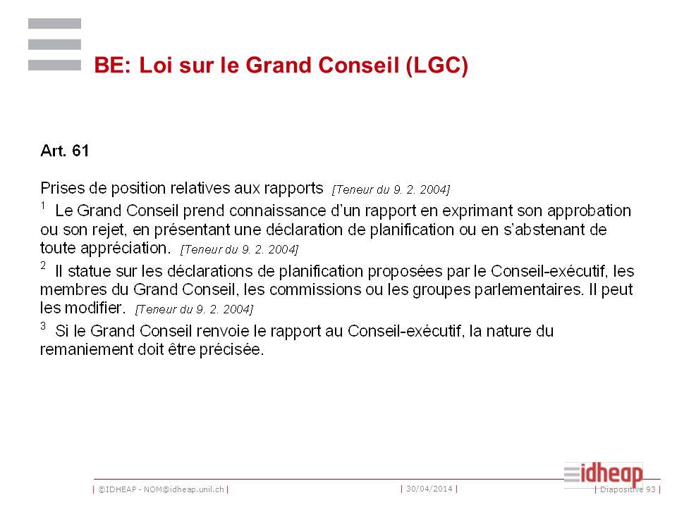 | ©IDHEAP - NOM@idheap.unil.ch | | 30/04/2014 | BE: Loi sur le Grand Conseil (LGC) | Diapositive 93 |
