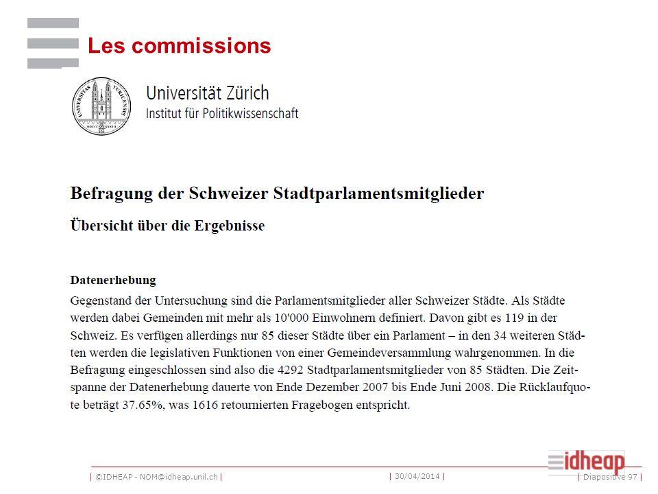 | ©IDHEAP - NOM@idheap.unil.ch | | 30/04/2014 | Les commissions | Diapositive 97 |