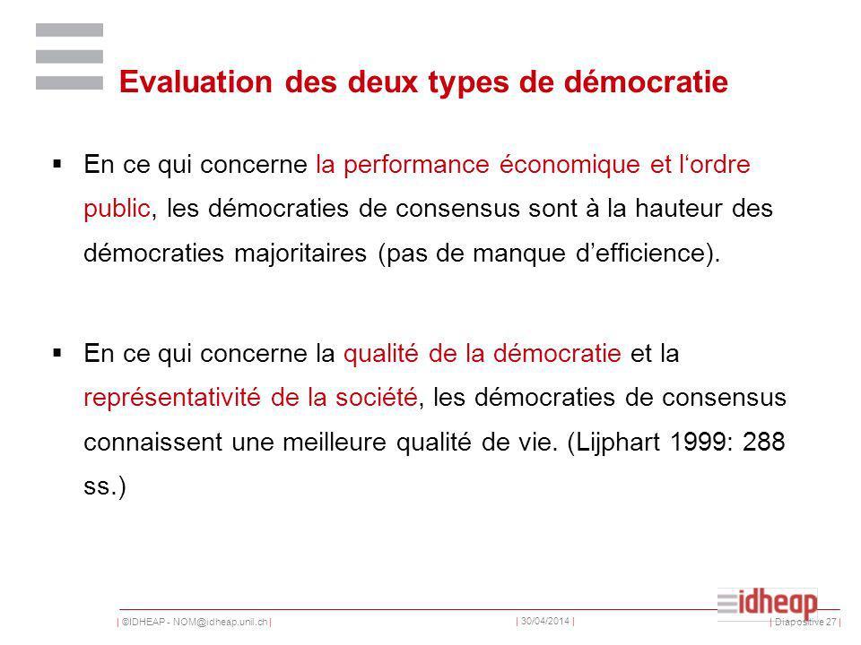 | ©IDHEAP - NOM@idheap.unil.ch | | 30/04/2014 | | Diapositive 27 | Evaluation des deux types de démocratie En ce qui concerne la performance économique et lordre public, les démocraties de consensus sont à la hauteur des démocraties majoritaires (pas de manque defficience).