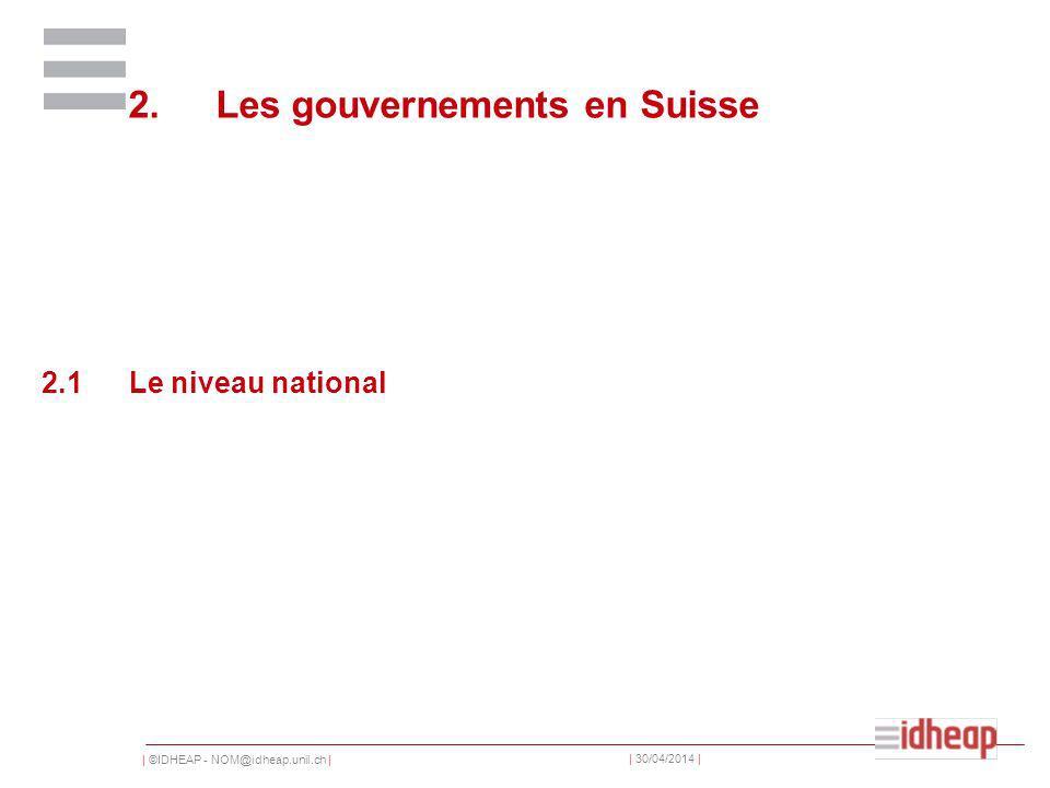 | ©IDHEAP - NOM@idheap.unil.ch | | 30/04/2014 | 2.Les gouvernements en Suisse 2.1Le niveau national