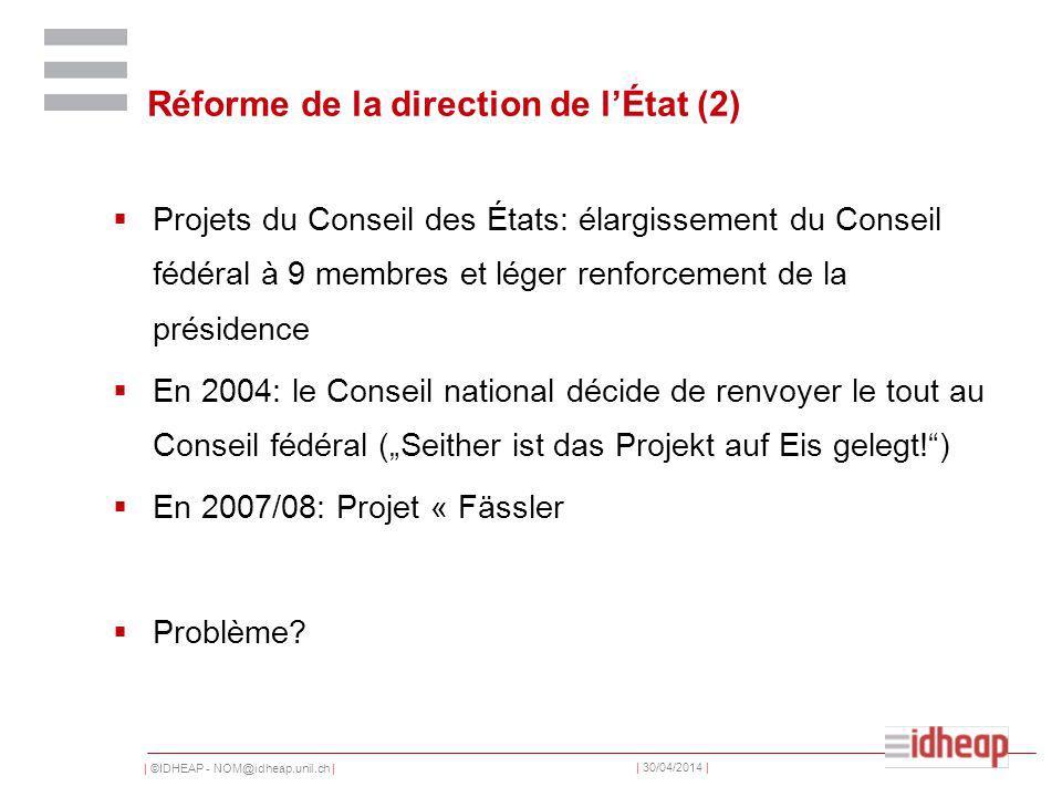 | ©IDHEAP - NOM@idheap.unil.ch | | 30/04/2014 | Réforme de la direction de lÉtat (2) Projets du Conseil des États: élargissement du Conseil fédéral à 9 membres et léger renforcement de la présidence En 2004: le Conseil national décide de renvoyer le tout au Conseil fédéral (Seither ist das Projekt auf Eis gelegt!) En 2007/08: Projet « Fässler Problème?