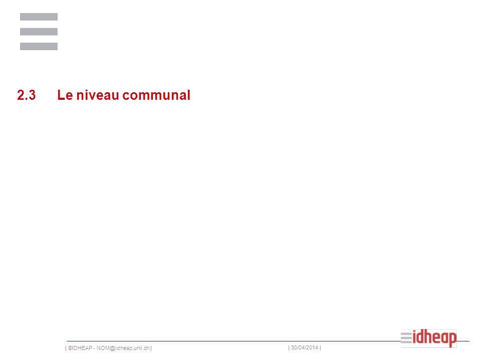| ©IDHEAP - NOM@idheap.unil.ch | | 30/04/2014 | 2.3Le niveau communal