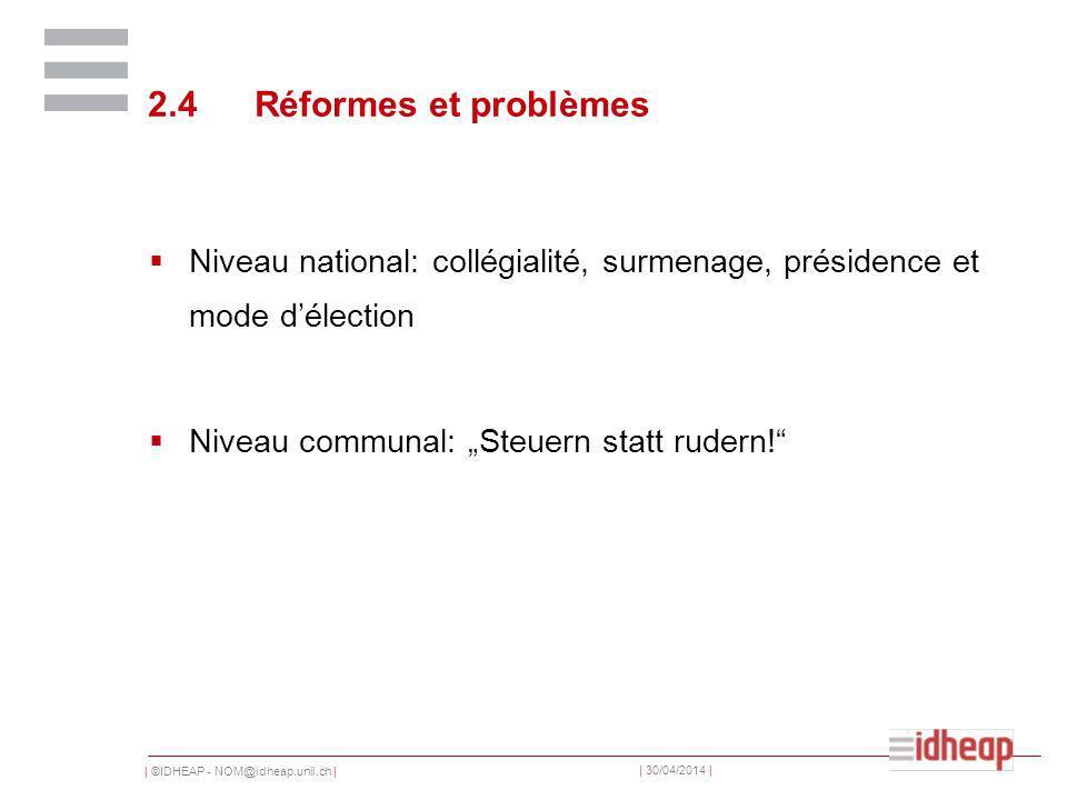 | ©IDHEAP - NOM@idheap.unil.ch | | 30/04/2014 | 2.4Réformes et problèmes Niveau national: collégialité, surmenage, présidence et mode délection Niveau communal: Steuern statt rudern!