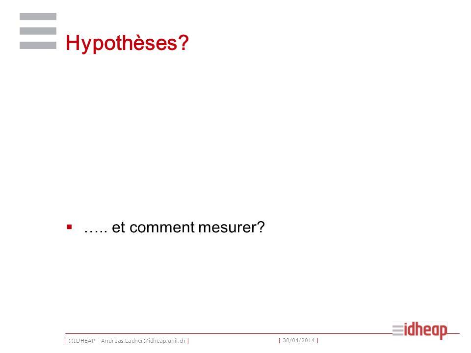 | ©IDHEAP – Andreas.Ladner@idheap.unil.ch | | 30/04/2014 | Hypothèses? ….. et comment mesurer?