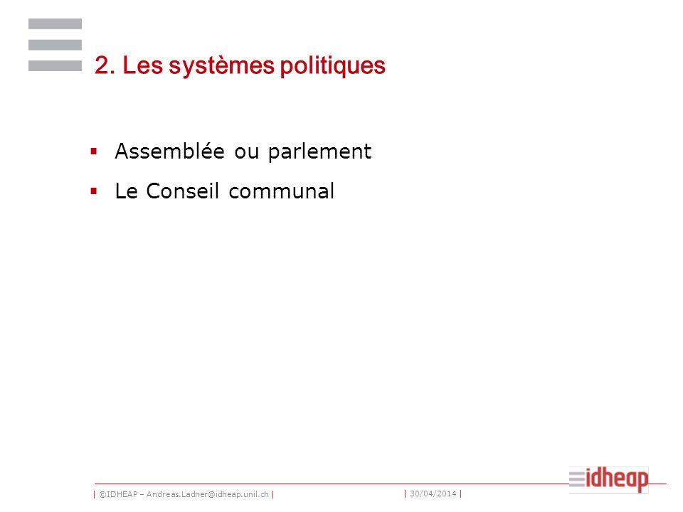 | ©IDHEAP – Andreas.Ladner@idheap.unil.ch | | 30/04/2014 | 2. Les systèmes politiques Assemblée ou parlement Le Conseil communal