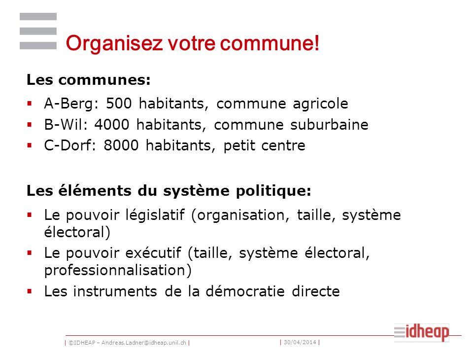 | ©IDHEAP – Andreas.Ladner@idheap.unil.ch | | 30/04/2014 | Organisez votre commune! Les communes: A-Berg: 500 habitants, commune agricole B-Wil: 4000