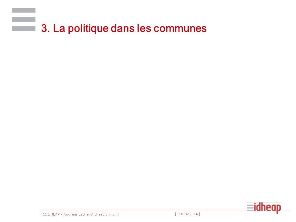 | ©IDHEAP – Andreas.Ladner@idheap.unil.ch | | 30/04/2014 | 3. La politique dans les communes