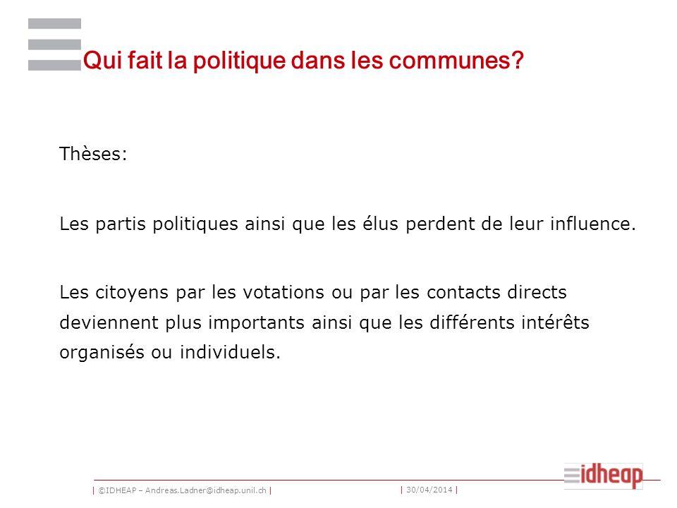 | ©IDHEAP – Andreas.Ladner@idheap.unil.ch | | 30/04/2014 | Qui fait la politique dans les communes? Thèses: Les partis politiques ainsi que les élus p