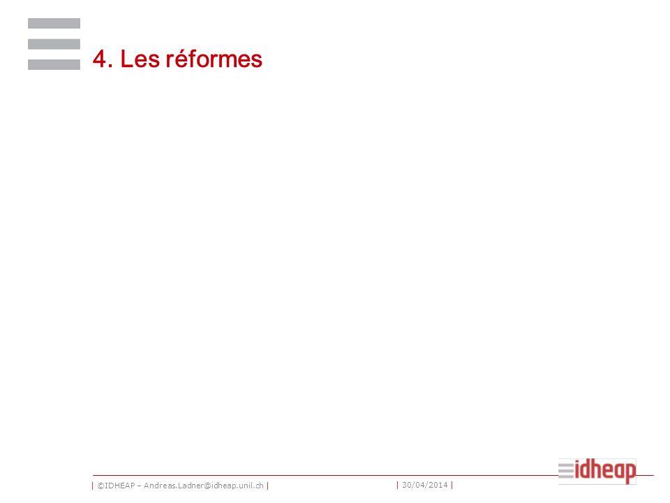 | ©IDHEAP – Andreas.Ladner@idheap.unil.ch | | 30/04/2014 | 4. Les réformes