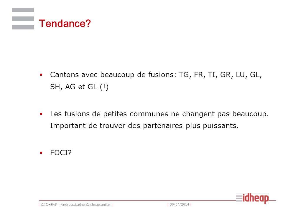 | ©IDHEAP – Andreas.Ladner@idheap.unil.ch | | 30/04/2014 | Tendance? Cantons avec beaucoup de fusions: TG, FR, TI, GR, LU, GL, SH, AG et GL (!) Les fu