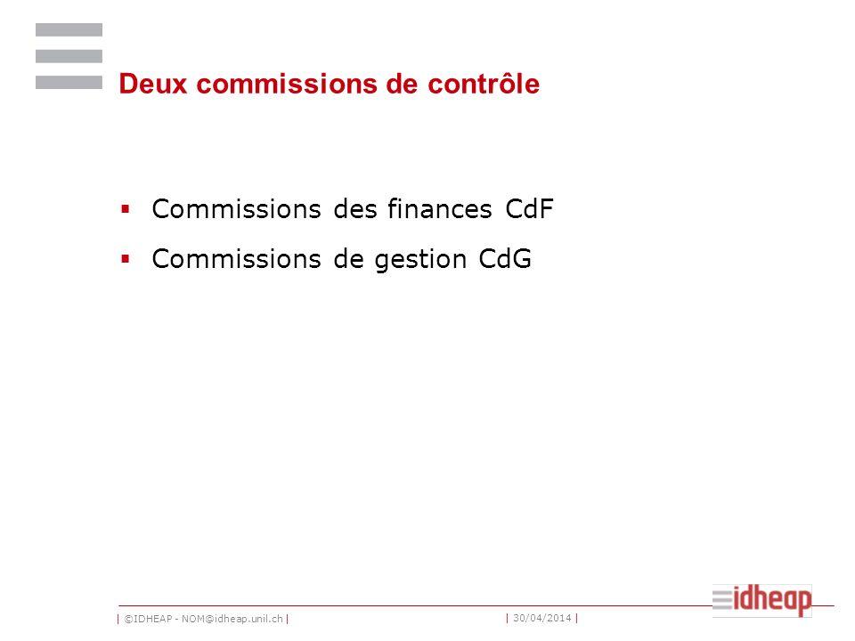 | ©IDHEAP - NOM@idheap.unil.ch | | 30/04/2014 | Deux commissions de contrôle Commissions des finances CdF Commissions de gestion CdG