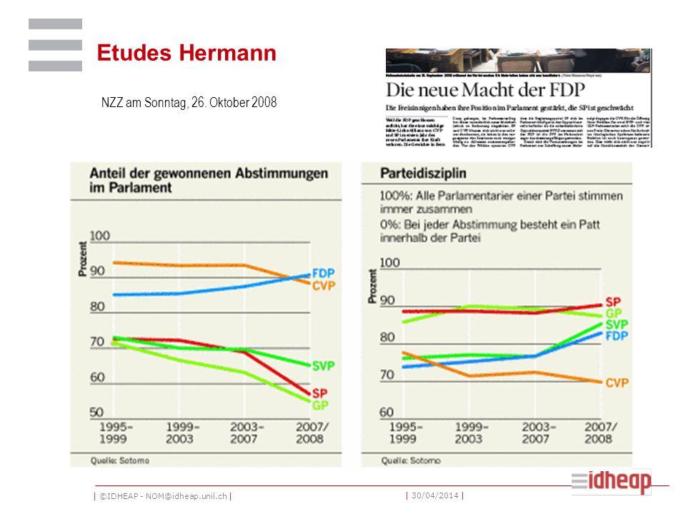 | ©IDHEAP - NOM@idheap.unil.ch | | 30/04/2014 | Etudes Hermann NZZ am Sonntag, 26. Oktober 2008