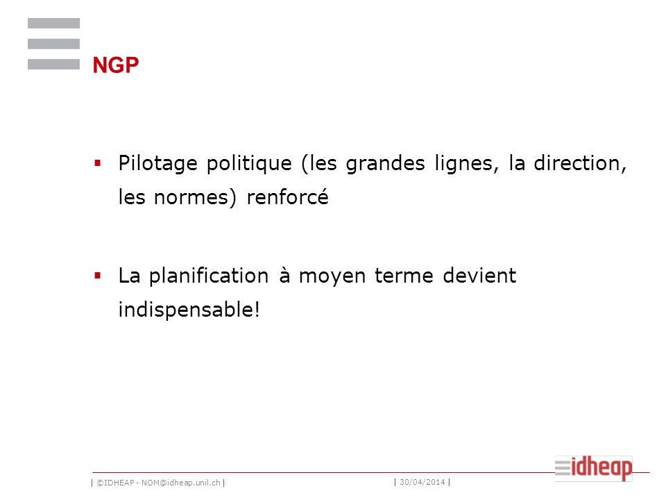 | ©IDHEAP - NOM@idheap.unil.ch | | 30/04/2014 | NGP Pilotage politique (les grandes lignes, la direction, les normes) renforcé La planification à moyen terme devient indispensable!