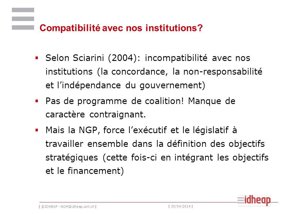 | ©IDHEAP - NOM@idheap.unil.ch | | 30/04/2014 | Compatibilité avec nos institutions.