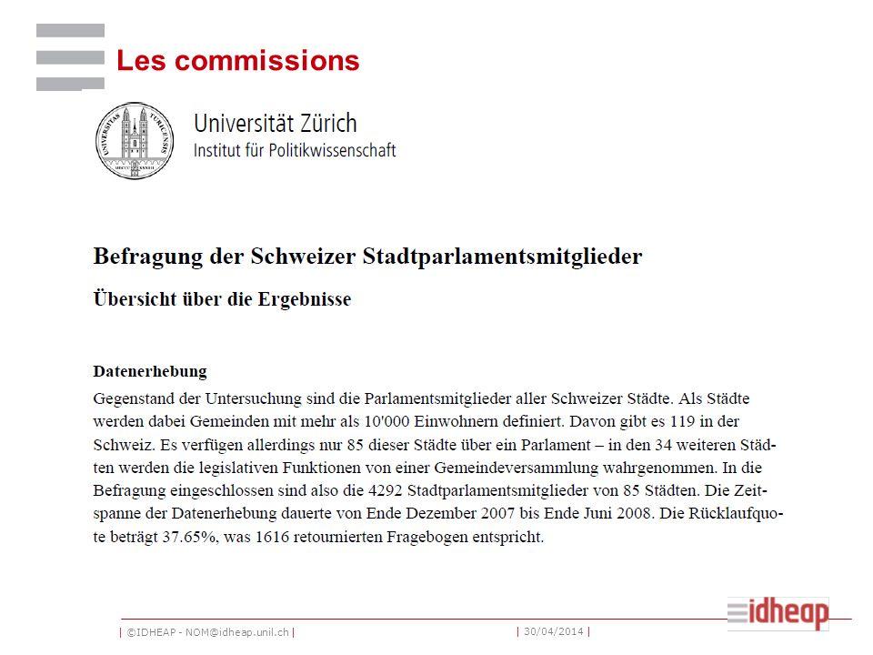 | ©IDHEAP - NOM@idheap.unil.ch | | 30/04/2014 | Les commissions