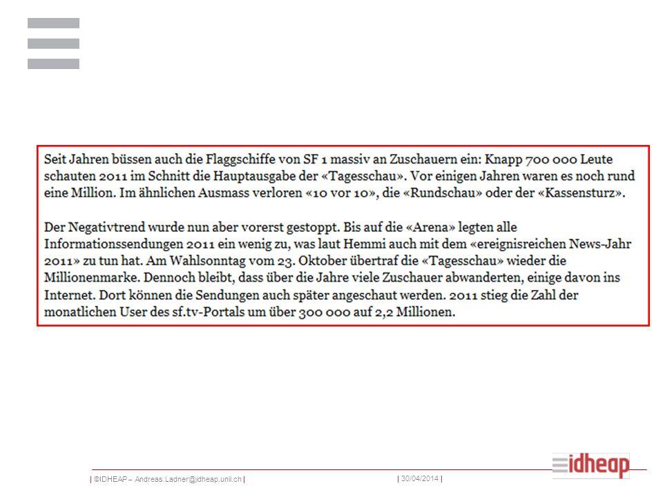 | ©IDHEAP – Andreas.Ladner@idheap.unil.ch | | 30/04/2014 |