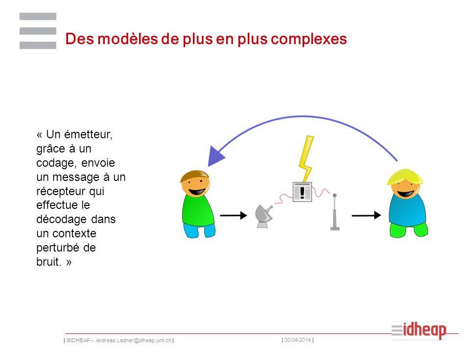 | ©IDHEAP – Andreas.Ladner@idheap.unil.ch | | 30/04/2014 | Des modèles de plus en plus complexes « Un émetteur, grâce à un codage, envoie un message à
