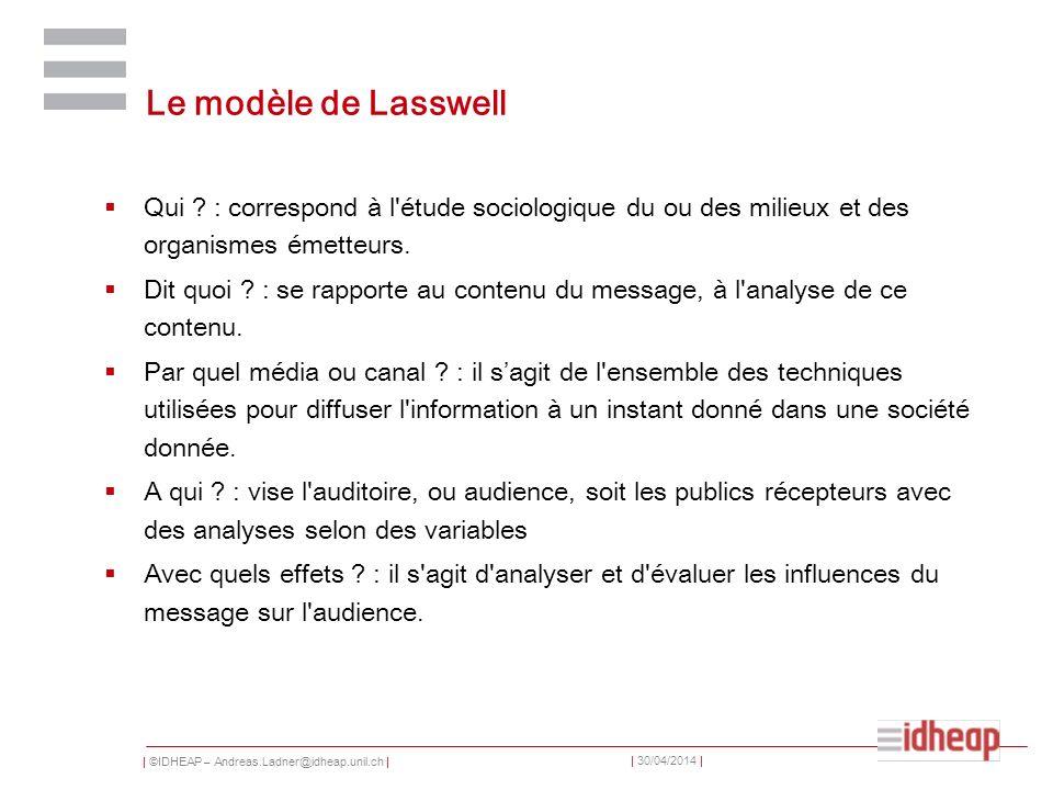 | ©IDHEAP – Andreas.Ladner@idheap.unil.ch | | 30/04/2014 | Le modèle de Lasswell Qui ? : correspond à l'étude sociologique du ou des milieux et des or